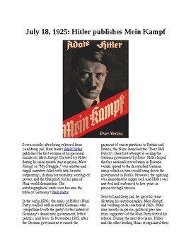 This Day in History - July 18: Mein Kampf published (no prep/sub plans)