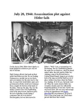 This Day in History - July 20: Assassination attempt on Hitler (no prep/sub plan