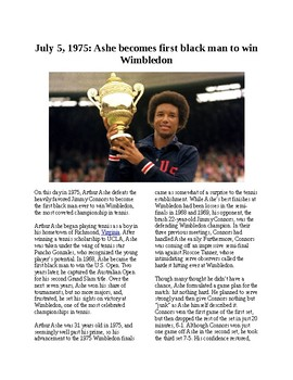 This Day in History - July 5: Arthur Ashe wins Wimbledon (no prep/sub plan)