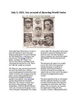 """This Day in History - July 5: Chicago """"Black Sox"""" throw World Series (no prep)"""