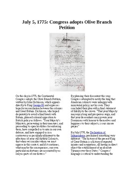 This Day in History - July 5: Congress adopts Olive Branch Petition (no prep/sub