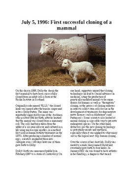 "This Day in History - July 5: ""Dolly"" the cloned sheep is born (no prep/sub plan"