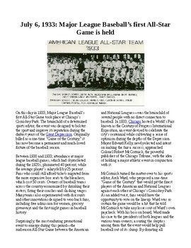 This Day in History - July 6: Baseball's first All-Star Game (no prep/sub plans)