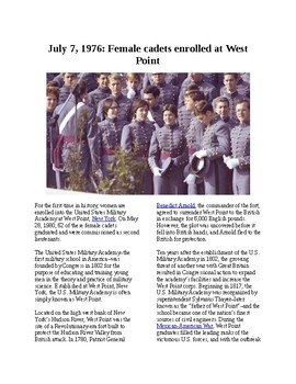 This Day in History - July 7: Female cadets enrolled at West Point (no prep/sub)