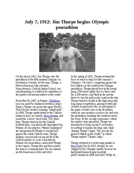 This Day in History - July 7: Jim Thorpe in the Olympics (no prep/sub plans)