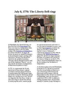This Day in History - July 8: The Liberty Bell rings (no prep/sub plans)