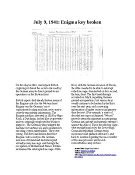 This Day in History - July 9: WWII-Enigma Key is broken (no prep/sub plans)