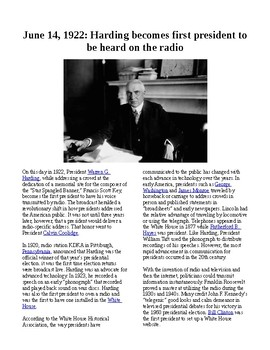 This Day in History - June 14: Harding is heard on radio (no prep/sub plans)