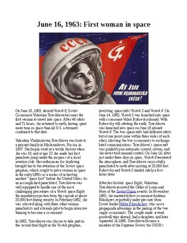This Day in History - June 16: First woman in space (no prep/sub plans)