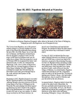 This Day in History - June 18: Napoleon Loses at Waterloo (no prep/sub plan)
