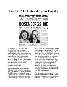 This Day in History - June 19: Rosenbergs are Executed (no prep/sub plan)