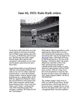 This Day in History - June 2: Babe Ruth retires (no prep/sub plans)
