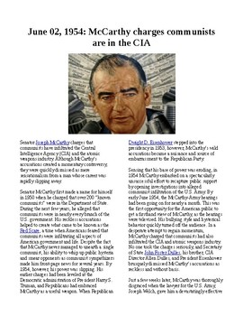 This Day in History - June 2: McCarthy claims communists in CIA (no prep)