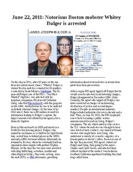 This Day in History - June 22: Crime boss Whitey Bulger arrested (no prep)