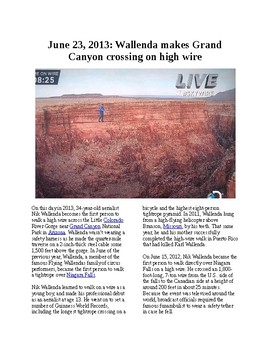 This Day in History - June 23: Tightrope walker crosses Grand Canyon (no prep)