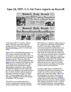 """This Day in History - June 24: Air Force releases Roswell """"UFO"""" report (no prep)"""