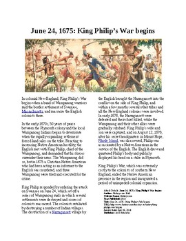 This Day in History - June 24: King Philip's War begins (no prep/sub plans)