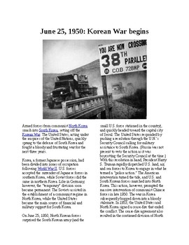 This Day in History - June 25: The Korean War begins (no prep/sub plans)