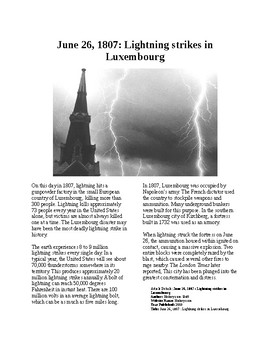 This Day in History - June 26: Deadly Luxembourg lightning strike (no prep/sub)