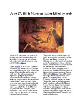 This Day in History - June 27: Mormon leader Joseph Smith is killed (no prep)