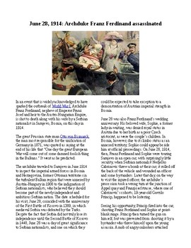 This Day in History - June 28: Archduke Ferdinand assassinated (no prep/sub plan