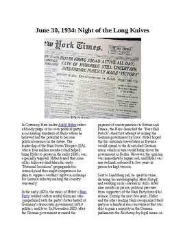 This Day in History - June 30: Night of Long Knives (no prep/sub plans)