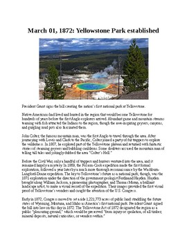 This Day in History - March 1: Yellowstone Park established (no prep/sub plan)