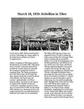 This Day in History - March 10: 1959: Rebellion in Tibet (no prep/sub plans)