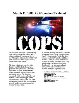 This Day in History - March 11: COPS debuts (no prep/sub plans)