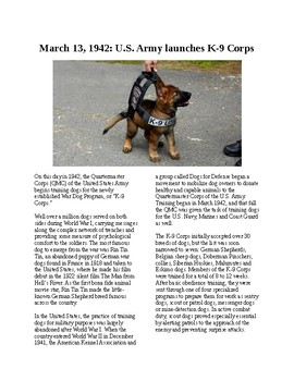 This Day in History - March 13: K9 Corps Established (no prep/sub plans)