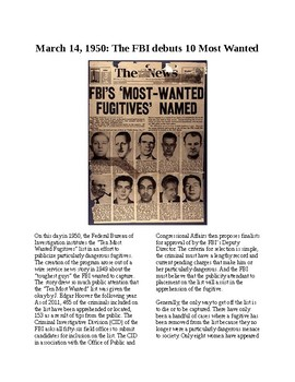 This Day in History - March 14: The FBI's 10 Most Wanted List (no prep/sub plan)