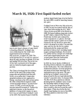 This Day in History - March 16: First liquid fueled rocket (no prep/sub plans)