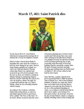 This Day in History - March 17 St. Patrick dies (no prep/sub plans)