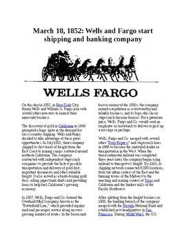 This Day in History - March 18: Wells and Fargo start shipping (no prep/sub plan