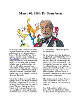 This Day in History - March 2: Dr. Suess is born (no prep/sub plans)