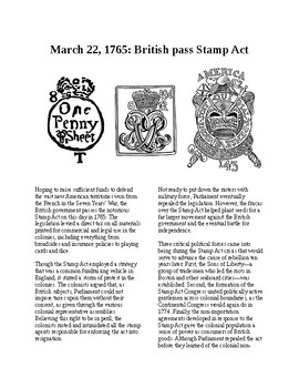 This Day in History - March 22: The Stamp Act is passed (no prep/sub plan)