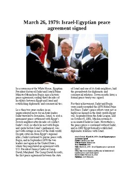 This Day in History - March 26: Camp David Accords (no prep/sub plan)