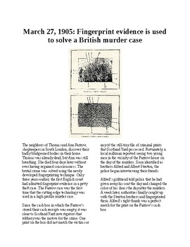 This Day in History - March 27: Forensic fingerprints solve the case (no prep)