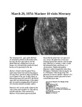 This Day in History - March 29: Mariner 10 heads to Mercury (no prep/sub plan)