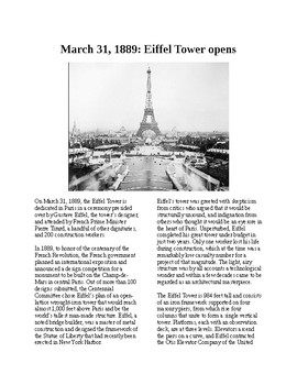 This Day in History - March 31: The Eiffel Tower opens (no prep/sub plans)