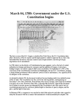 This Day in History - March 4: Government under the Constitution begins (no prep