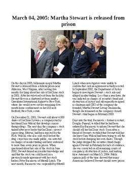 This Day in History - March 4: Martha Stewart freed from prison (no prep/sub)