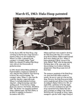 This Day in History: March 5: The Hula Hoop is patented (no prep/sub plans)