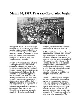 This Day in History - March 8: Februrary Revolution (no prep/sub plans)