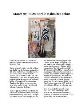 This Day in History - March 9: Barbie Doll debuts at Toy Fair (no prep/sub plan)