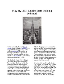 This Day in History - May 1: Empire State Building dedicated (no prep/sub plan)