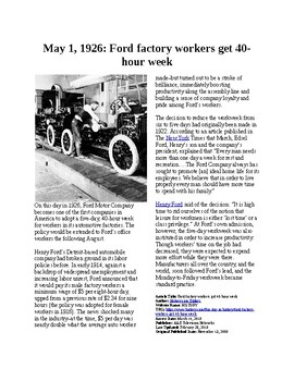 This Day in History - May 1: Ford factory workers get 40 hour week (no prep/sub)