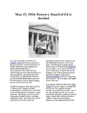 This Day in History - May 17: Brown v. Board of Ed decided (no prep/sub plans)