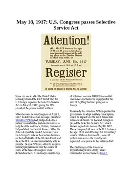 This Day in History - May 18: Selective Service Act passed (no prep/sub plans)
