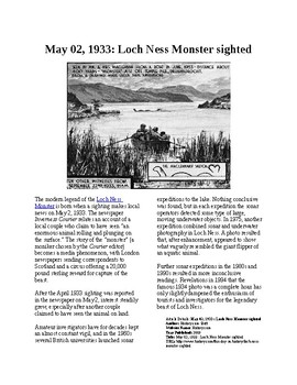 This Day in History - May 2: The Loch Ness Monster sighted (no prep/sub plan)